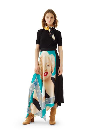 LOEWE Marilyn Asymmetric Skirt 青绿色/黑色 front