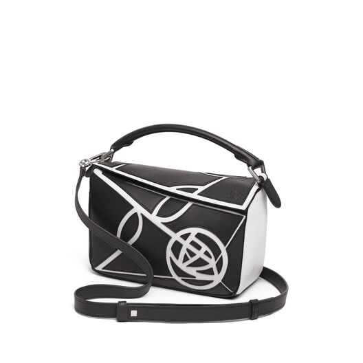 LOEWE Bolso Puzzle Roses Pequeño Negro/Blanco all