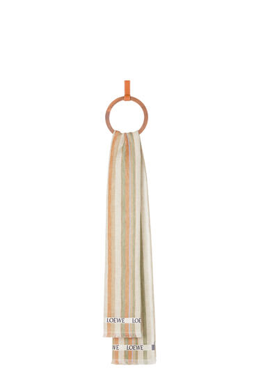 LOEWE 70 x 210 cm LOEWE scarf in striped linen and silk Multicolor/Orange pdp_rd
