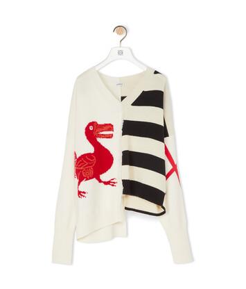 LOEWE V-Neck Sweater Dodo ホワイト/ブラック/レッド front