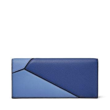 LOEWE Billetero Largo Horiz Puzzle Azul Pacifico/Azul Seaside front