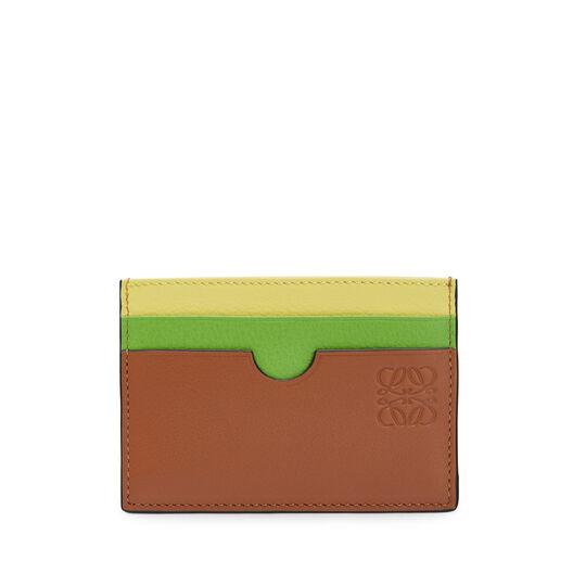 LOEWE Rainbow Plain Card Holder Tan/Multicolor front