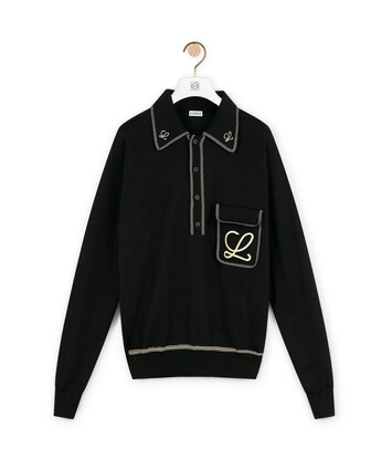 LOEWE Embroidered Poloneck Sweater Black front