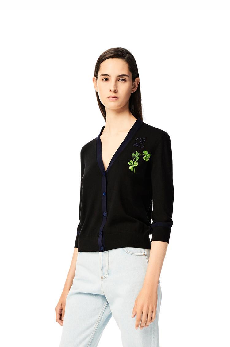 LOEWE Shamrock embroidered cardigan in wool Black pdp_rd