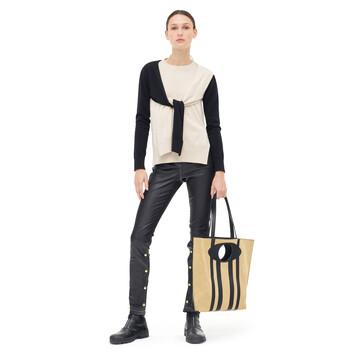 LOEWE Shoulder Sleeve Sweater Black/Beige front