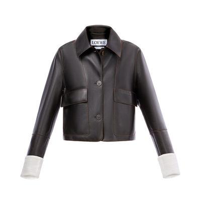 LOEWE クロップド ジャケット ブラック front
