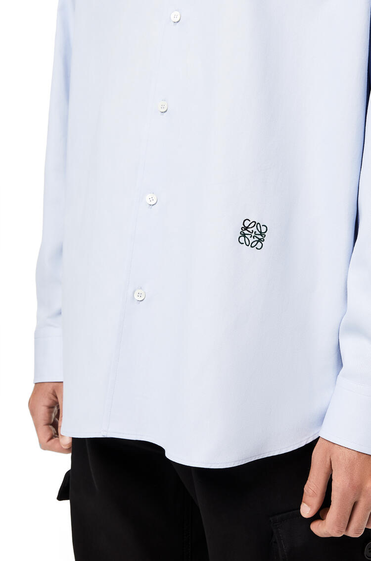 LOEWE Anagram embroidered oversize shirt in cotton Sky Blue pdp_rd