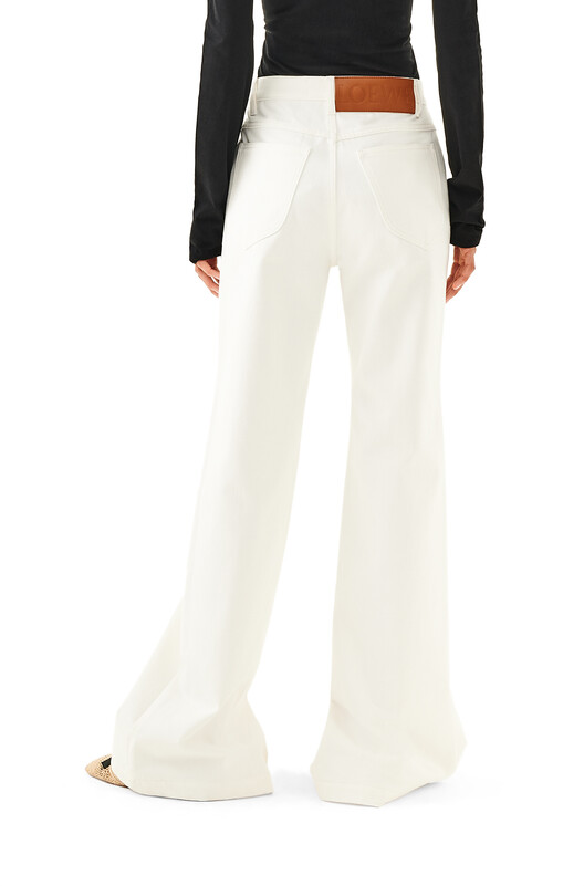 LOEWE Slit Denim Trousers White front