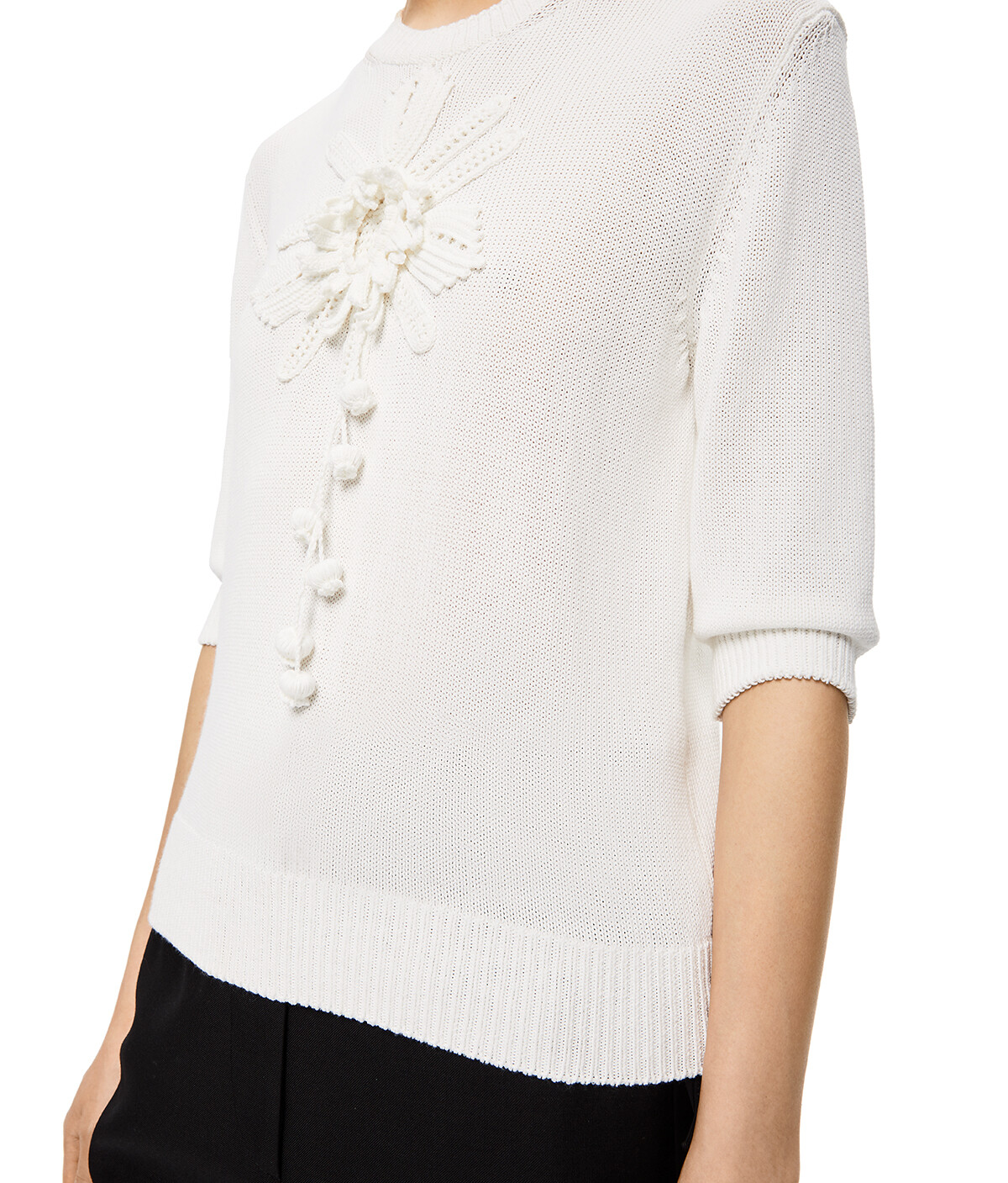 LOEWE Embroidered Short Sweater White front