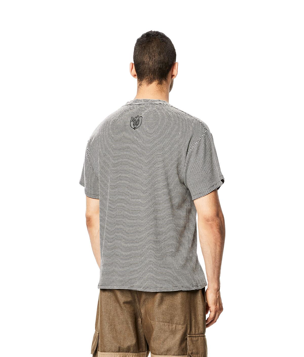 """LOEWE """"EYE""""自然短款条纹T恤 黑色/白色 front"""