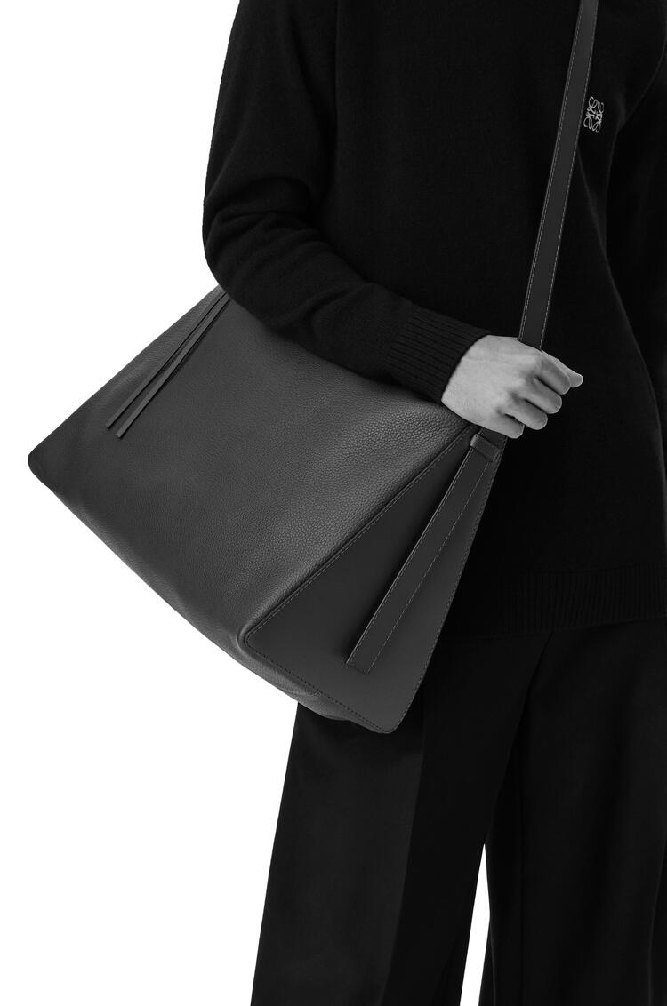 LOEWE Large Berlingo bag in nubuck and calfskin Black pdp_rd