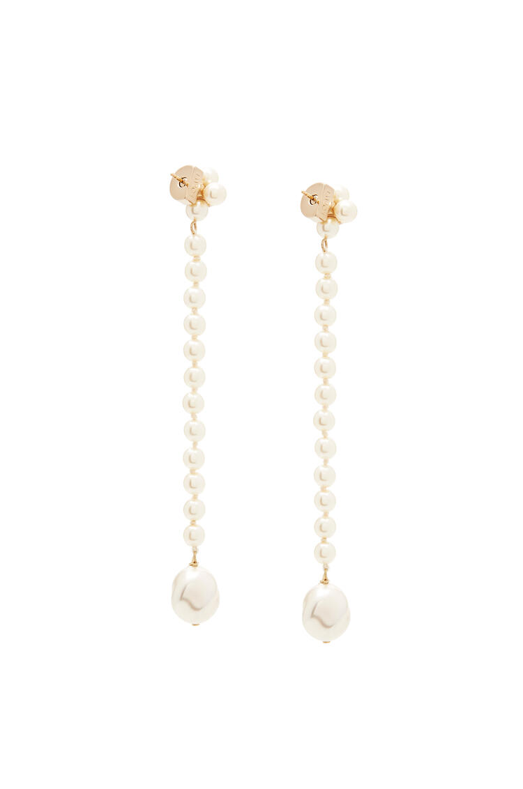 LOEWE Pearl earrings in leather White pdp_rd