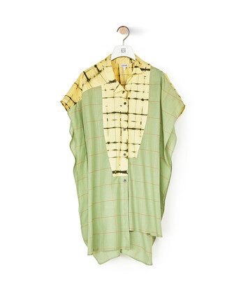 LOEWE Check & Stripe Short Slv Shirt Verde/Amarillo front