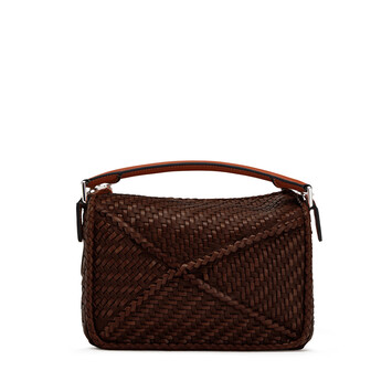 LOEWE Bolso Puzzle Woven Pequeño Brunette front