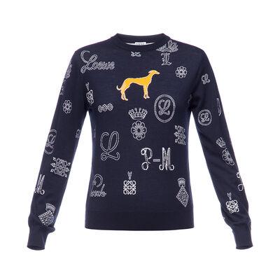 LOEWE Sweater Logos Navy Blue front