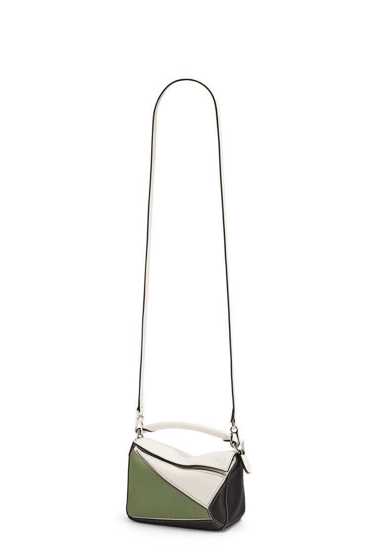 LOEWE Mini Puzzle bag in classic calfskin Soft White/Rosemary pdp_rd