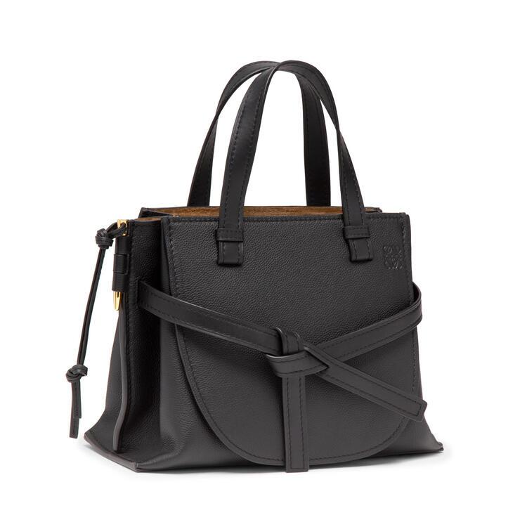 LOEWE Small Gate Top Handle bag in soft grained calfskin Black pdp_rd