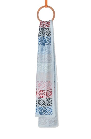 LOEWE 45X200 Scarf Anagram In Lines Light Blue front