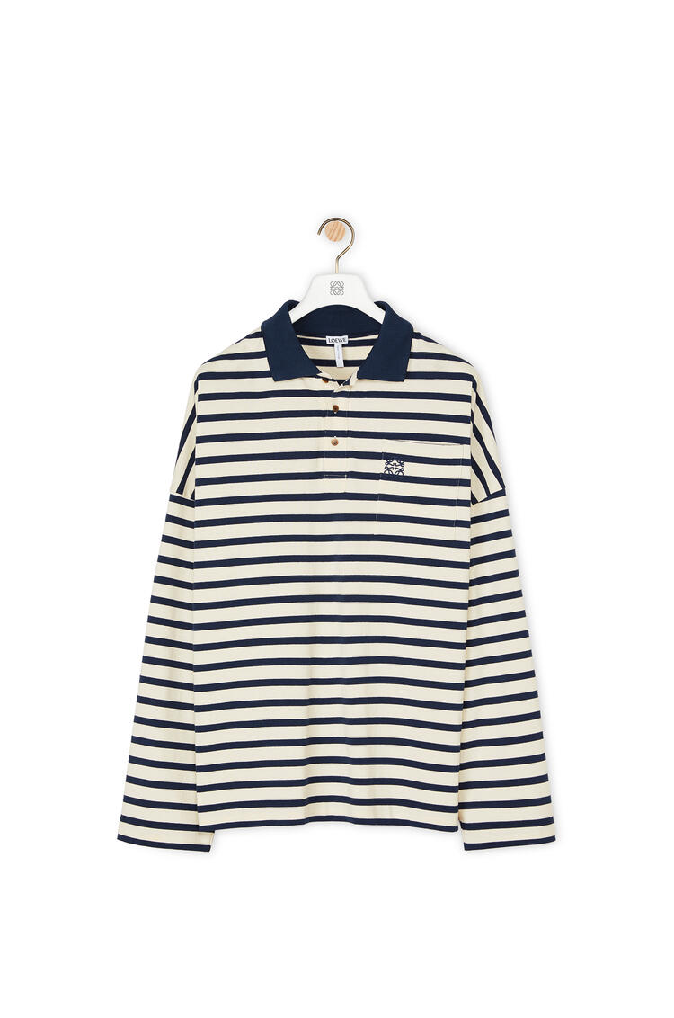 LOEWE Oversize polo in striped cotton Navy Blue/Ecru pdp_rd