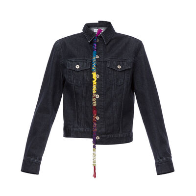 LOEWE Embroidered Knot Denim Jacket ブラック front