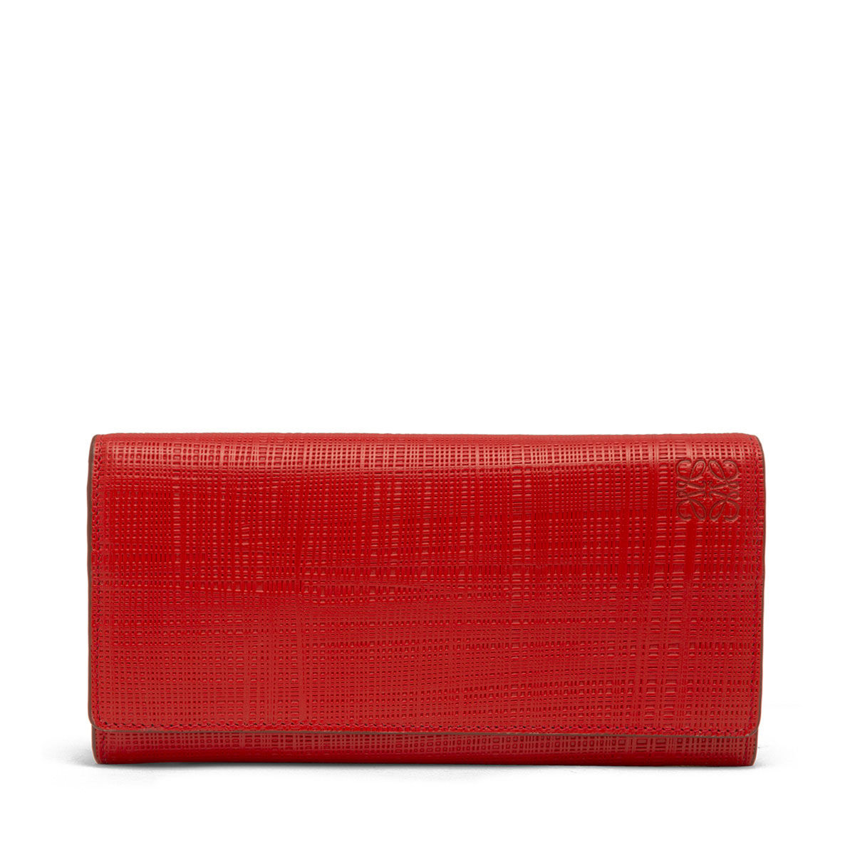 LOEWE Linen Continental Wallet Scarlet Red front