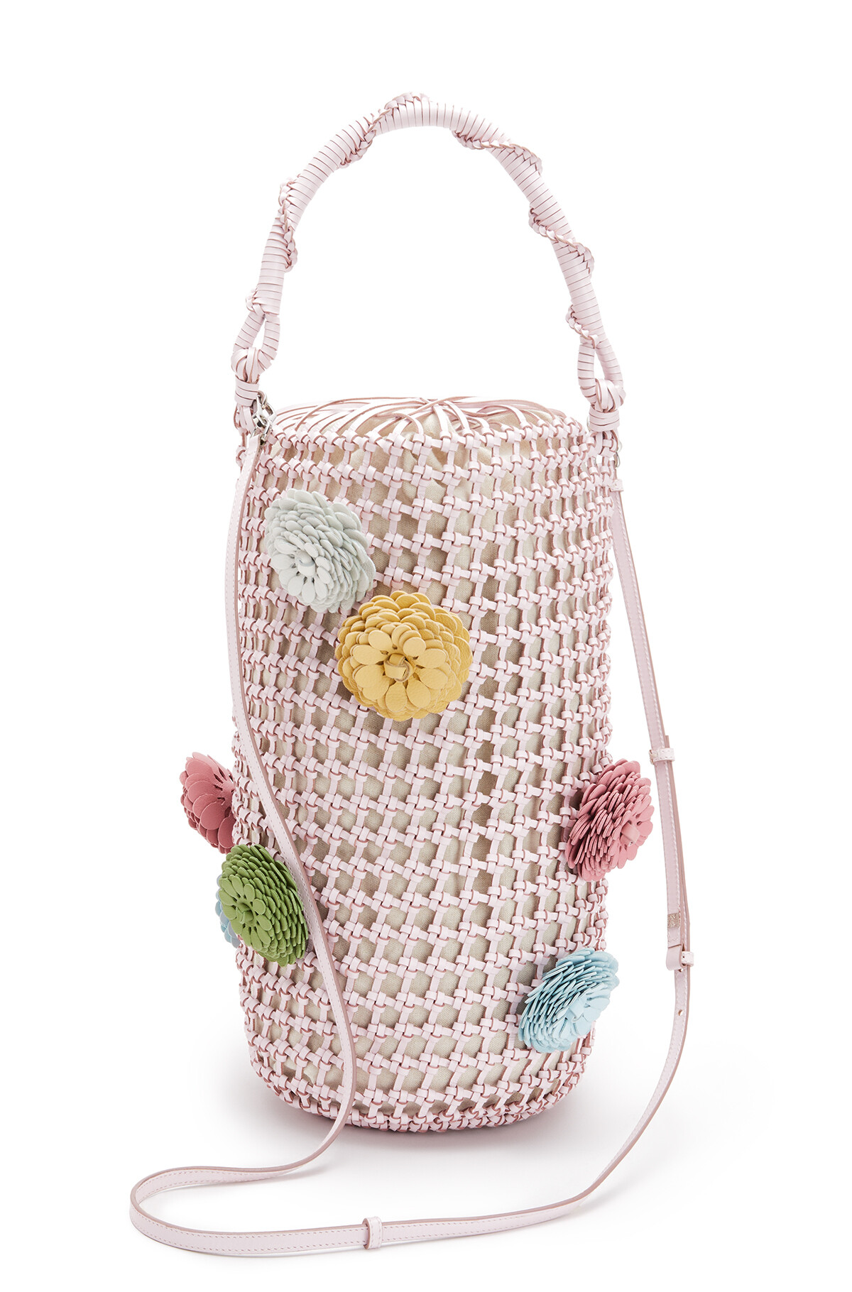 LOEWE バケット メッシュ フラワー バッグ Icy Pink front
