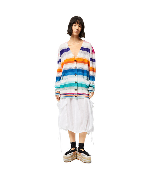 LOEWE Cardigan In Striped Cotton Multicolor/White front