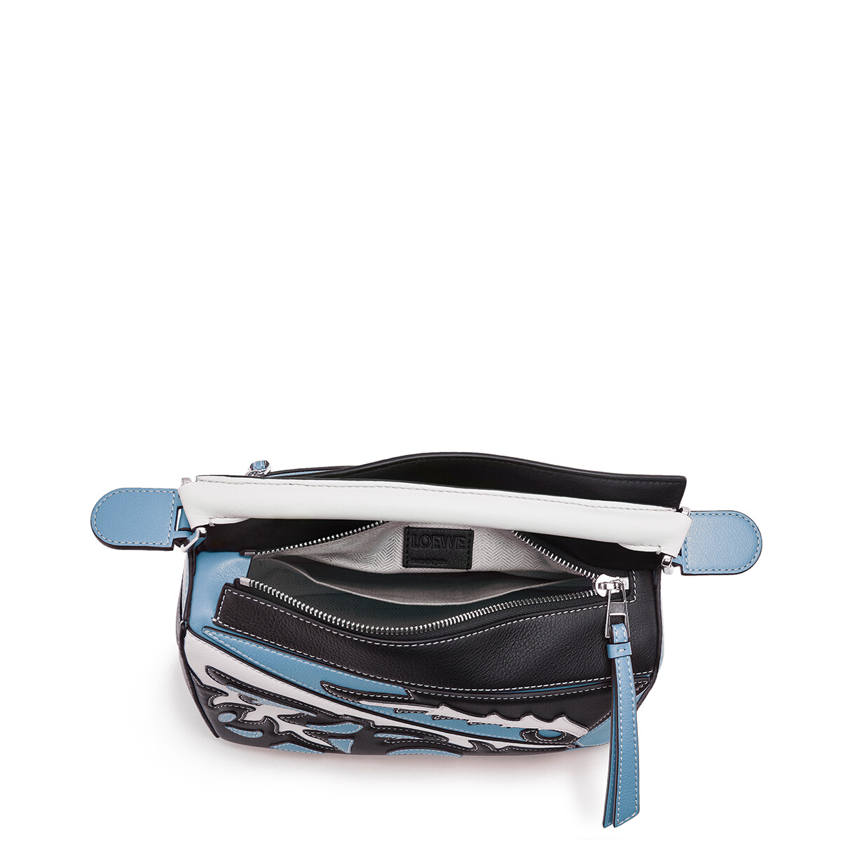 LOEWE Puzzle Cowboy Small Bag Black/Light Blue front