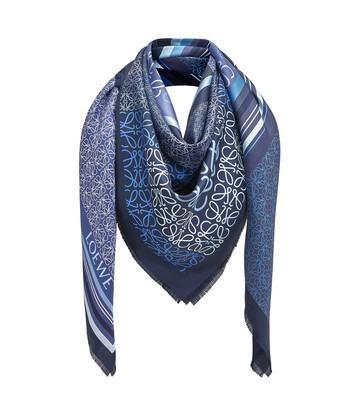 LOEWE 140X140 Scarf Print Patchwork Azul front