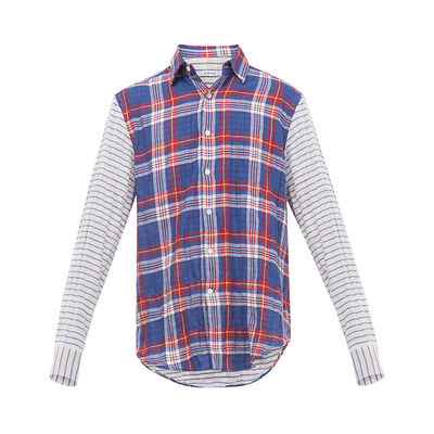 LOEWE Patchwork Sleeve Check Shirt Blue/Red/White front
