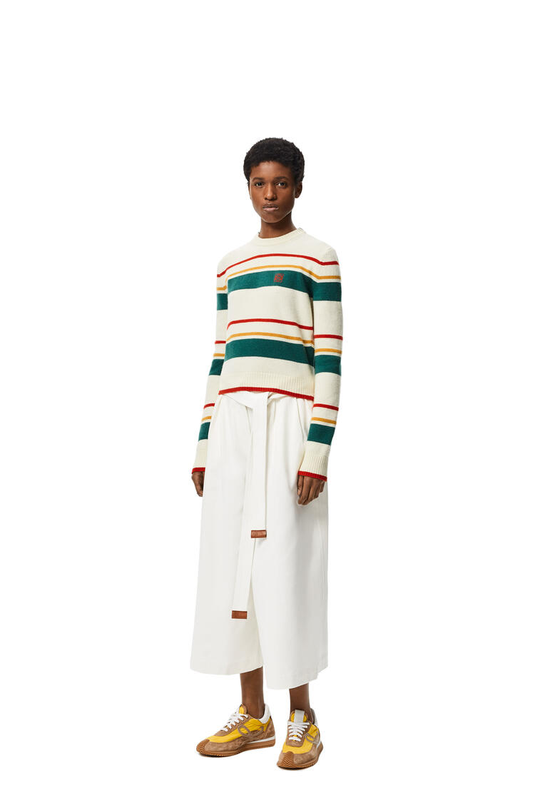LOEWE Anagram embroidered striped cropped sweater in wool Ecru/Multicolor pdp_rd