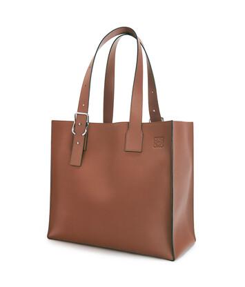 LOEWE Buckle Tote Bag Cognac front