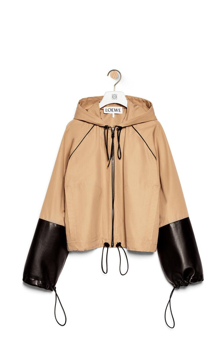 LOEWE Hooded jacket in cotton and nappa Sweet Caramel pdp_rd
