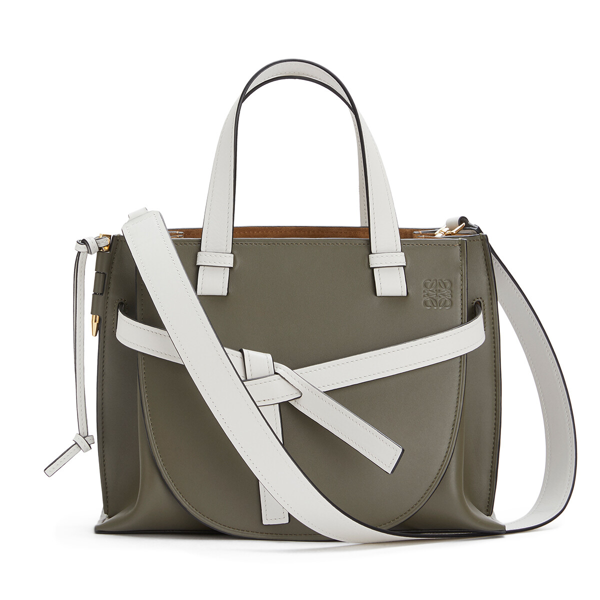 LOEWE Gate Top Handle Small Khaki Green/Soft White front
