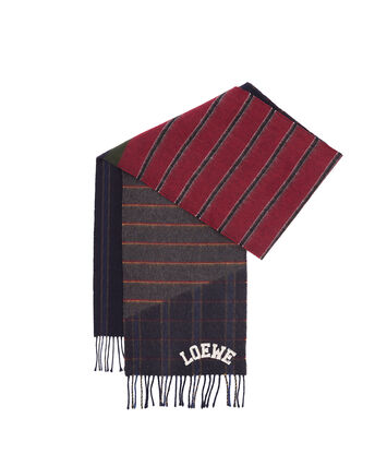 LOEWE 30X180 Scarf Varsity Stripes Dark Blue/Dark Red/Gold front