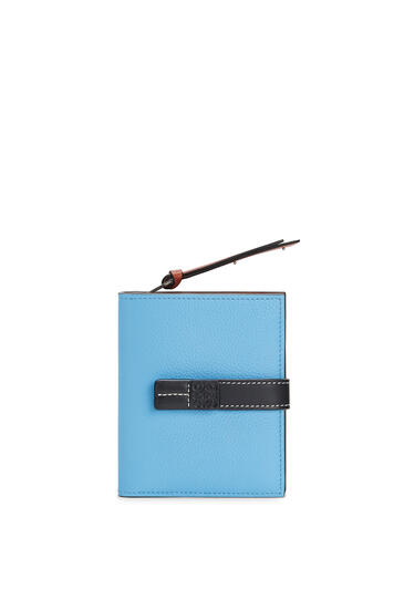 LOEWE Compact zip wallet in soft grained calfskin Sky-blue/Black pdp_rd