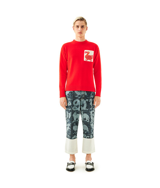 LOEWE Jumper With Jacquard Pocket Rojo front
