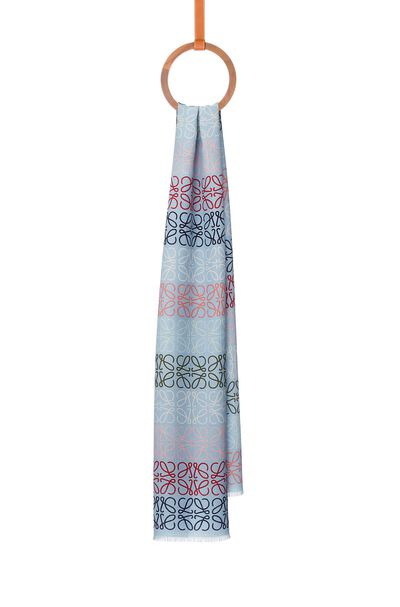 LOEWE 45X200 Anagram In Lines Scarf Blue/Multicolor front