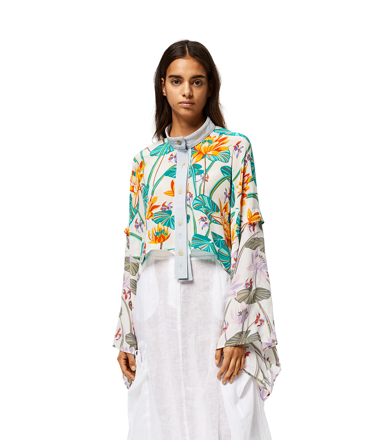 LOEWE Cropped Jacket In Waterlily Silk White/Orange front