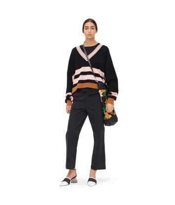 LOEWE Stripe V Neck Sweater Black/Pink front