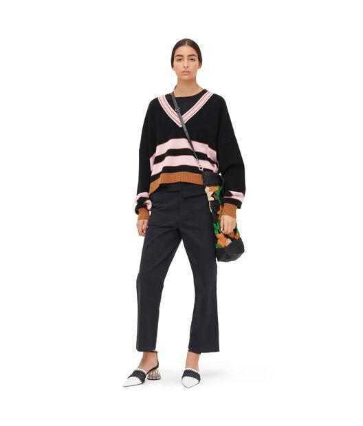 LOEWE Stripe V Neck Sweater Black/Pink front