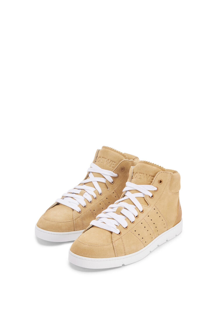 LOEWE High top soft sneaker in split calfskin Gold pdp_rd