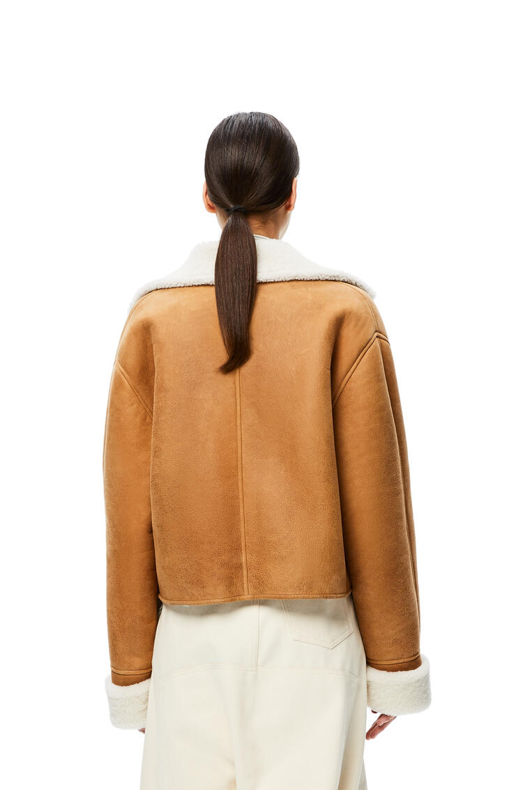 LOEWE Cropped double-breasted jacket in shearling Light Brown pdp_rd