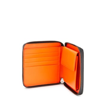 LOEWE Brand Square Zip Wallet Electric Blue/Orange front