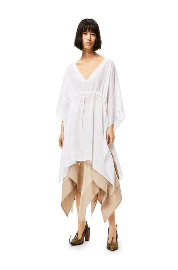LOEWE Caftan-Style Top In Linen White front