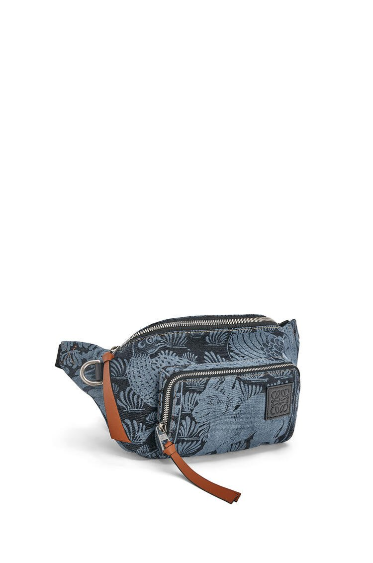LOEWE Bumbag tiles in denim and classic calf Indigo/Black pdp_rd