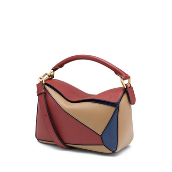 d11f7dfb6de76 LOEWE Puzzle Small Bag Brick Red Almond front