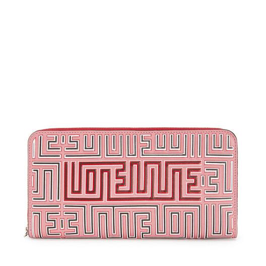 LOEWE Maze Zip Around Wallet Candy/Rouge front