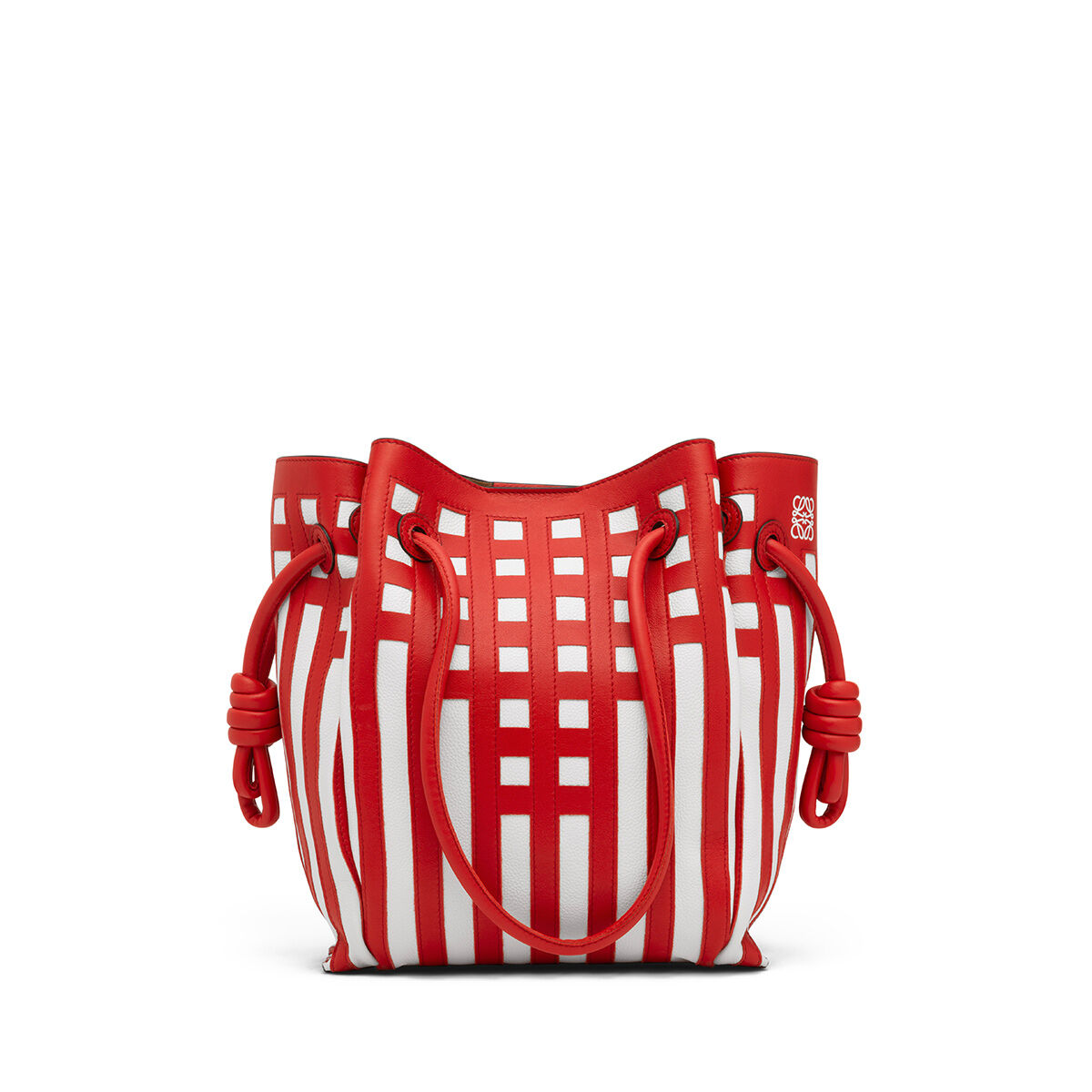 LOEWE Flamenco Knot Tote Grid S Bag Scarlet Red/White all