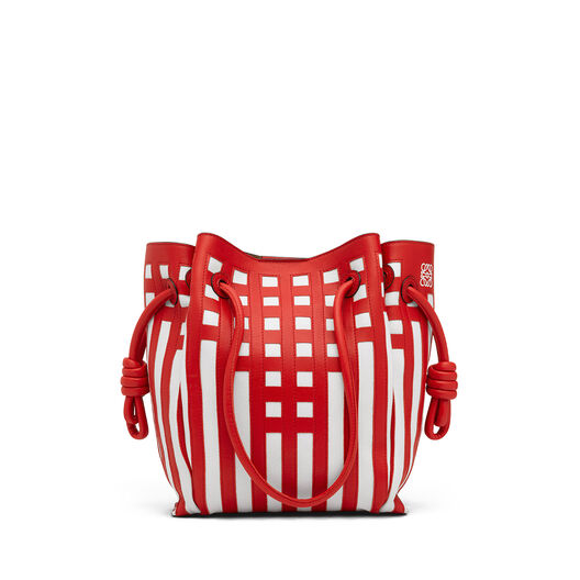 LOEWE Flamenco Knot Tote Grid S Bag Scarlet Red/White all
